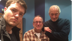 Tom, Adrian Hodges and Charles Dance at the Soundhouse for The Magus recording.