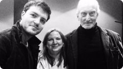 Tom and Charles Dance at the Soundhouse for The Magus recording.